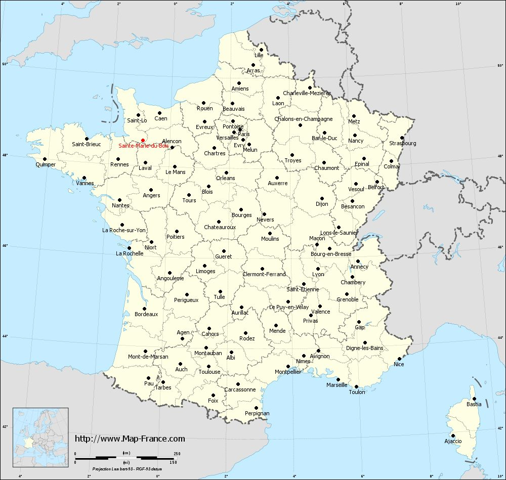 Administrative map of Sainte-Marie-du-Bois