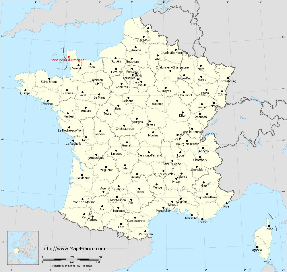 Administrative map of Saint-Pierre-d'Arthéglise