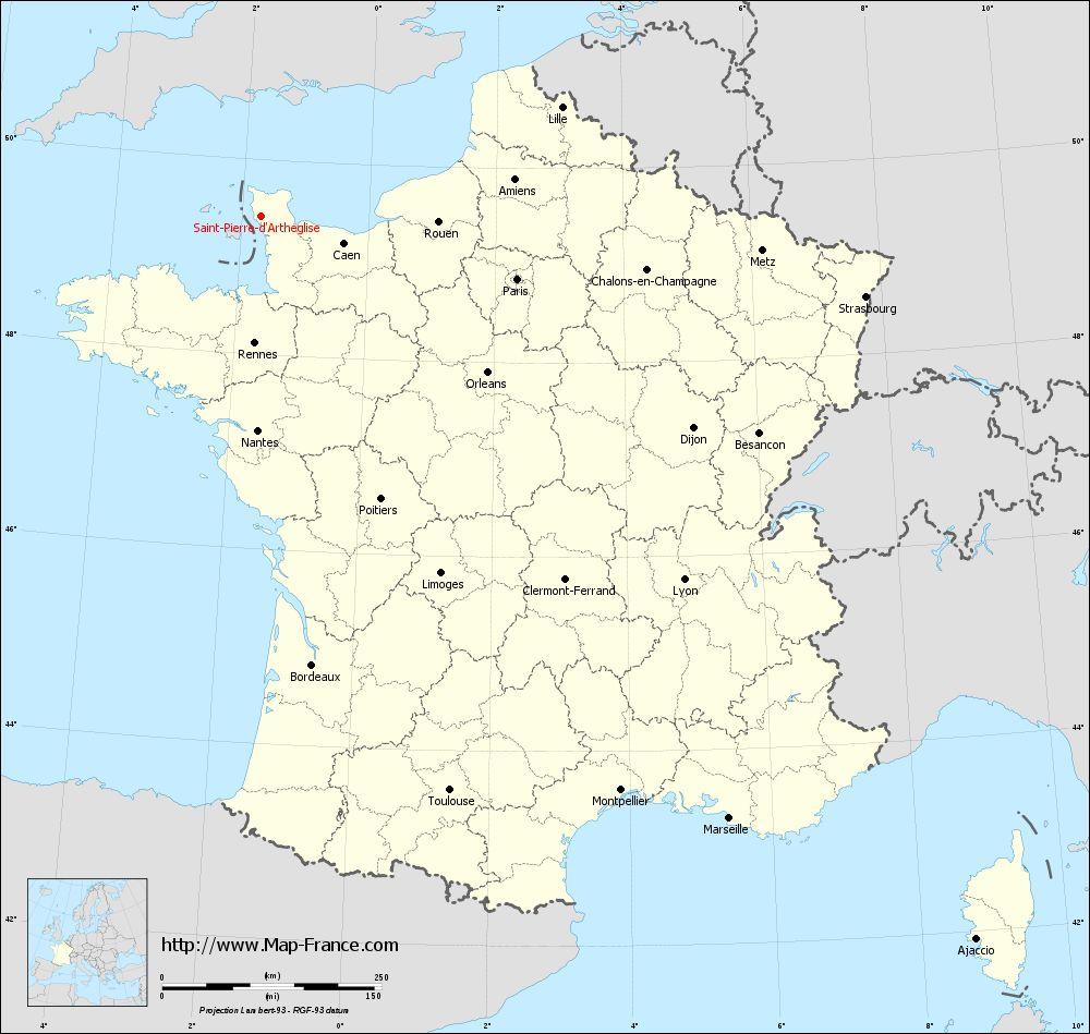 Carte administrative of Saint-Pierre-d'Arthéglise