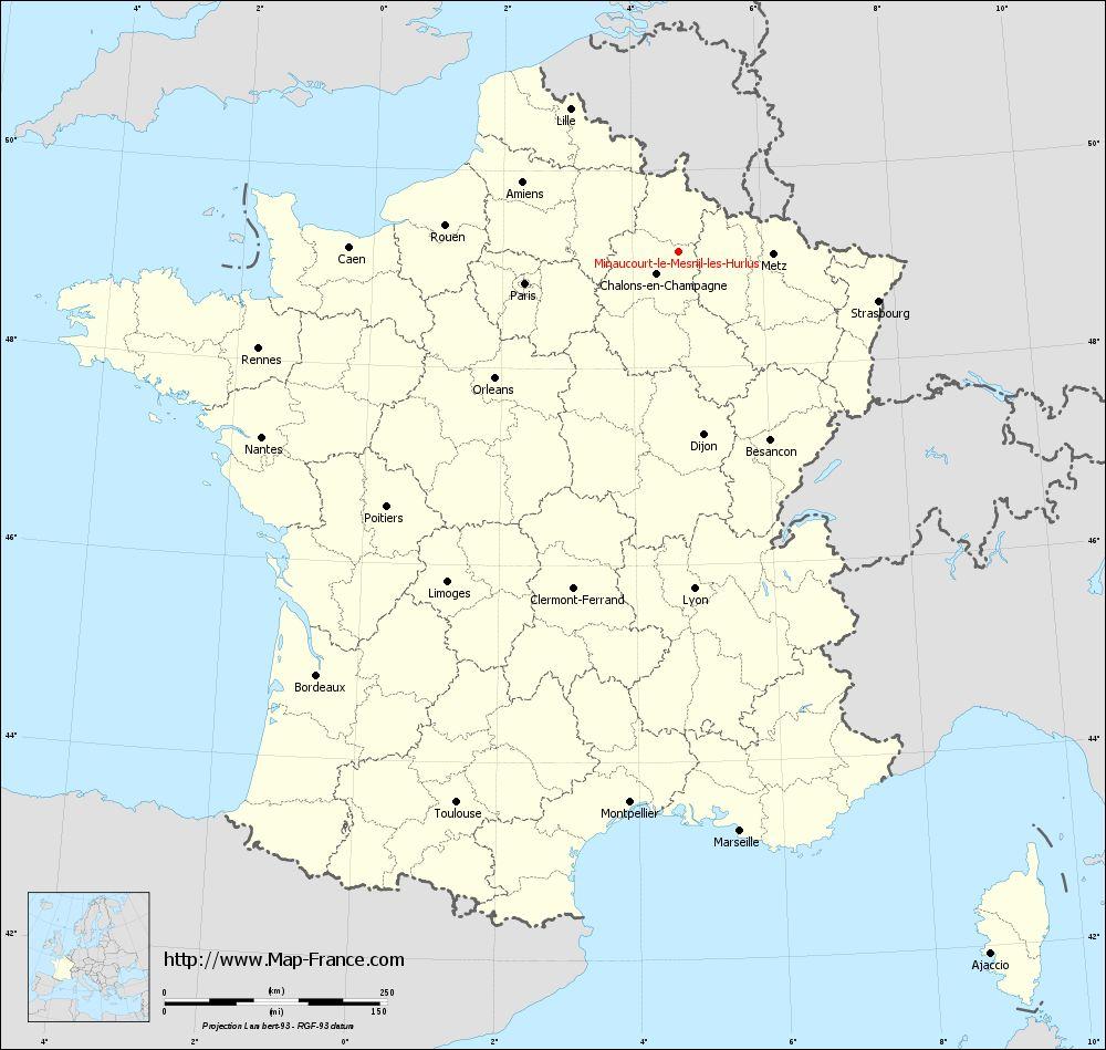 Carte administrative of Minaucourt-le-Mesnil-lès-Hurlus