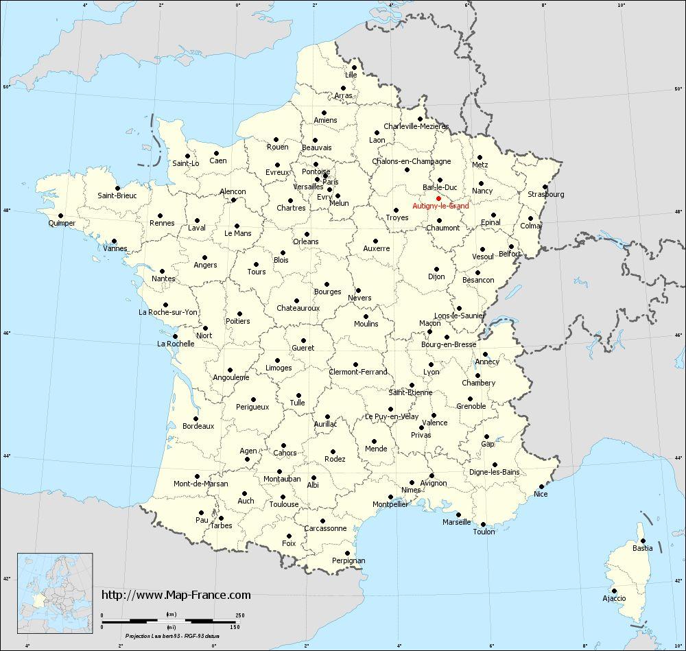 Administrative map of Autigny-le-Grand