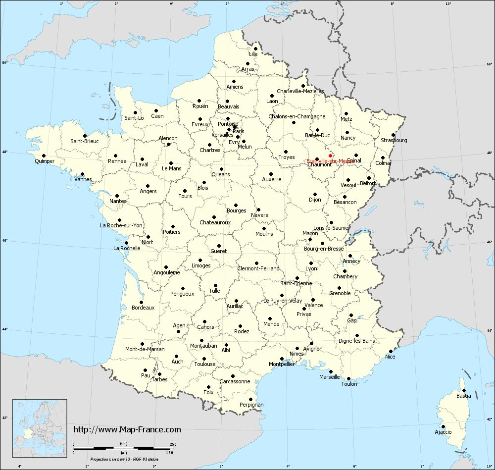 Administrative map of Brainville-sur-Meuse