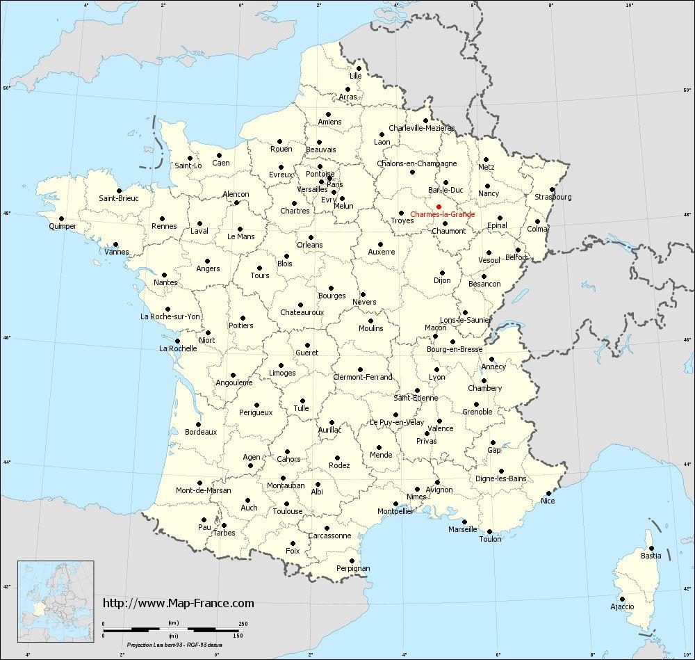 Administrative map of Charmes-la-Grande