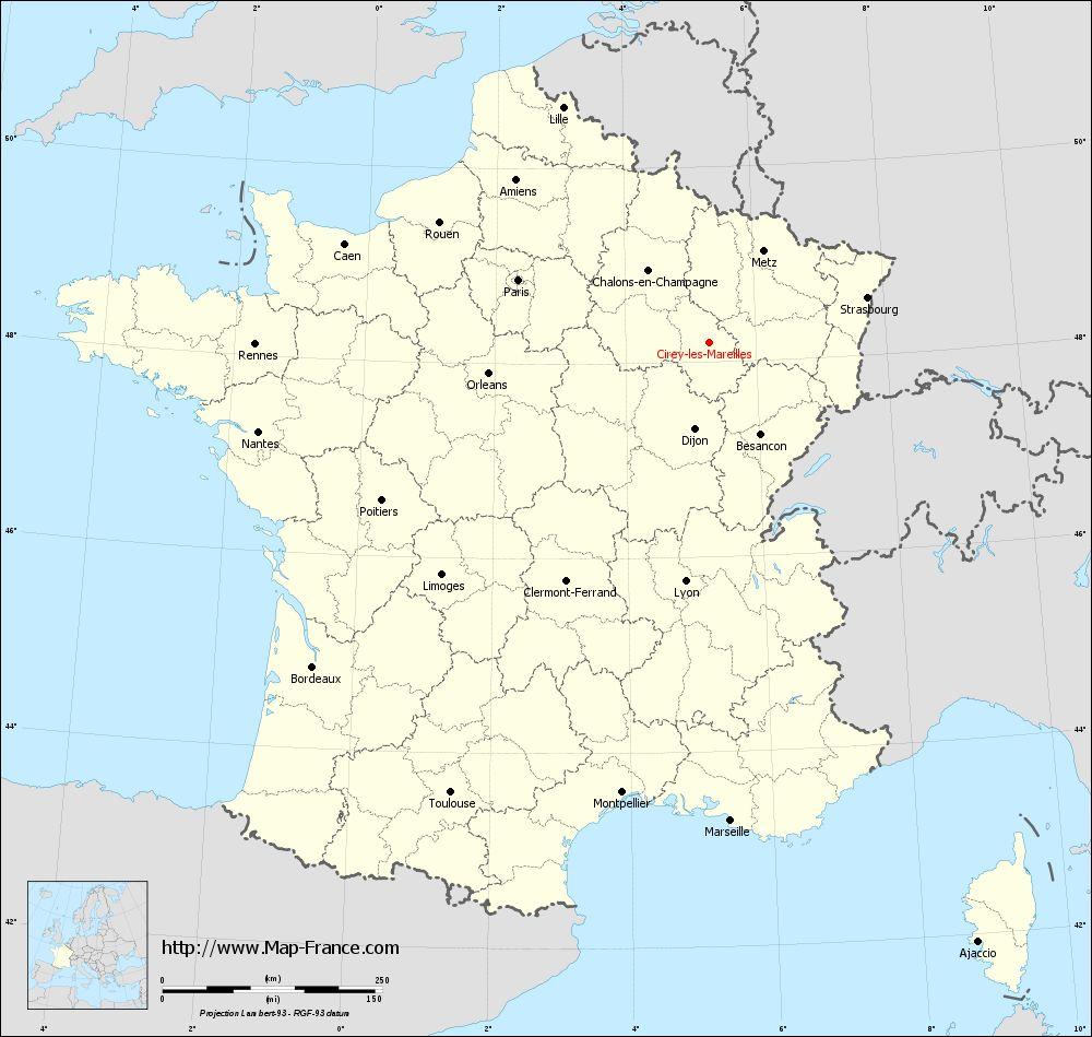Carte administrative of Cirey-lès-Mareilles