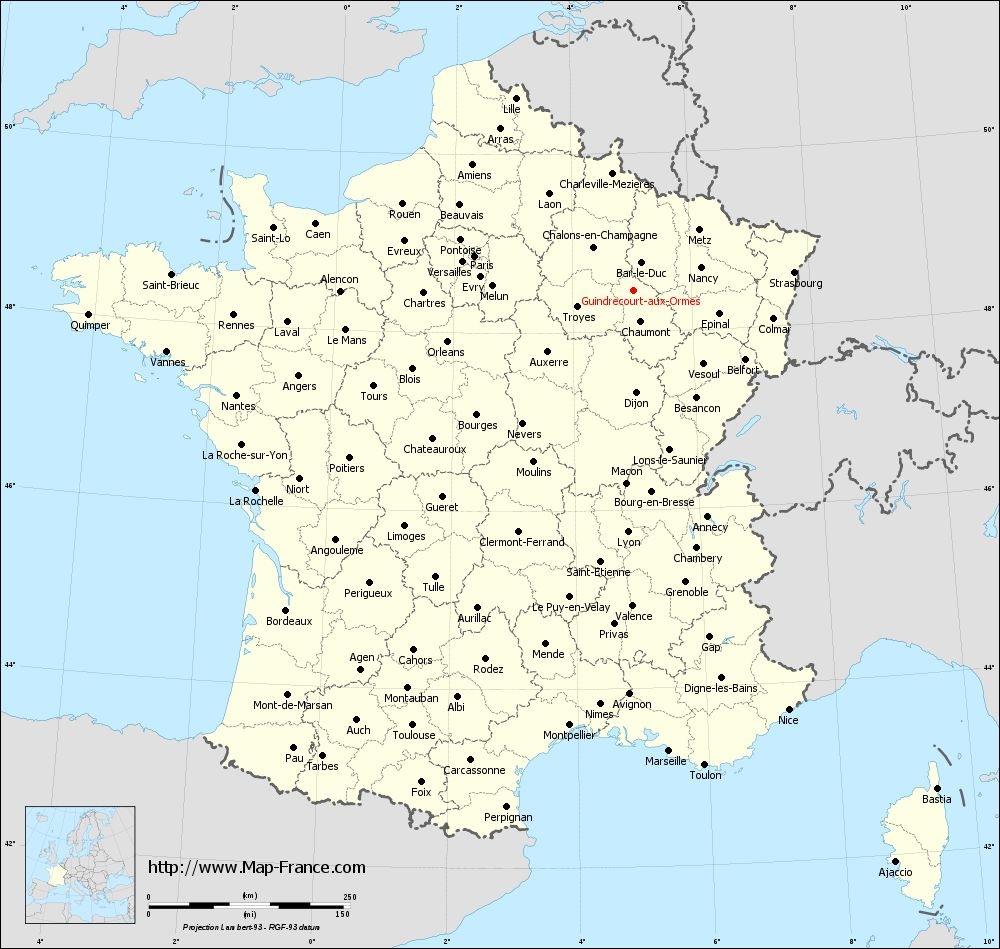 Administrative map of Guindrecourt-aux-Ormes