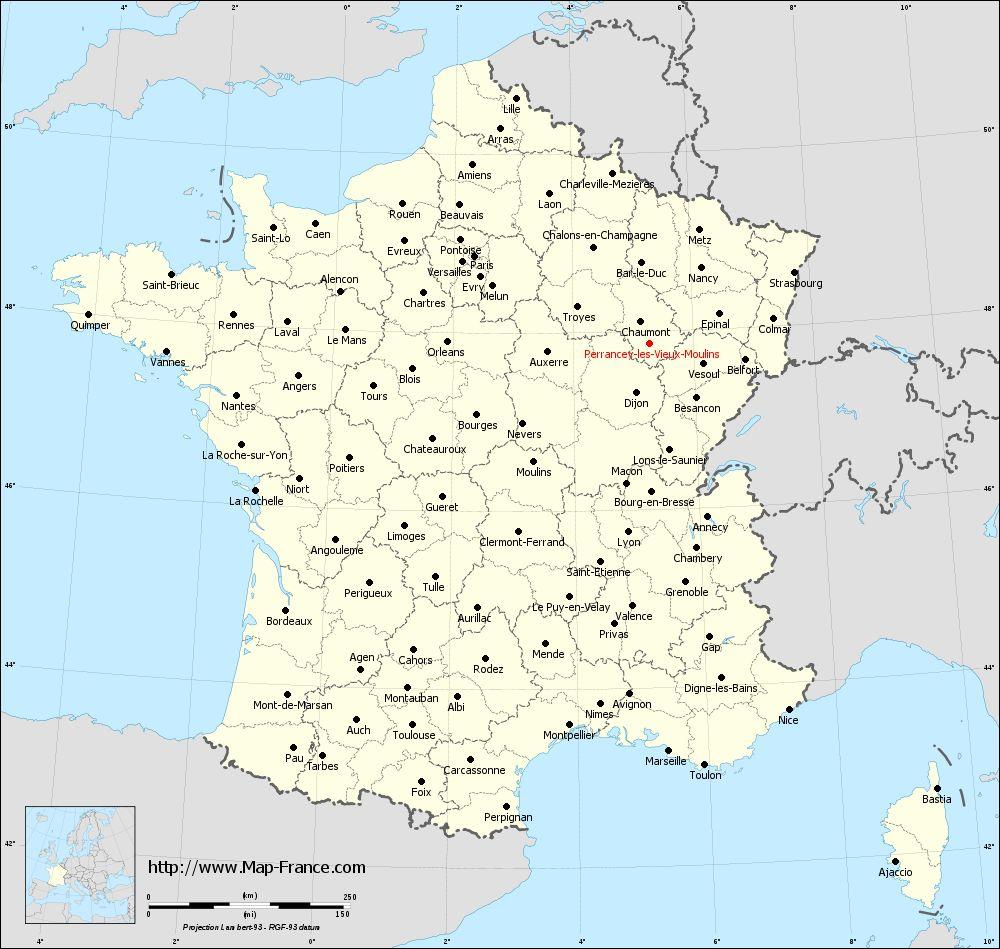 Administrative map of Perrancey-les-Vieux-Moulins