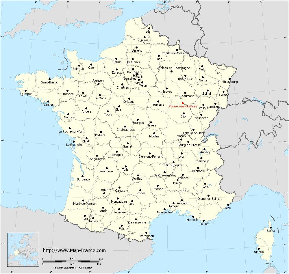 Administrative map of Poinson-lès-Grancey
