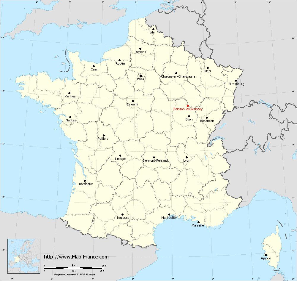 Carte administrative of Poinson-lès-Grancey