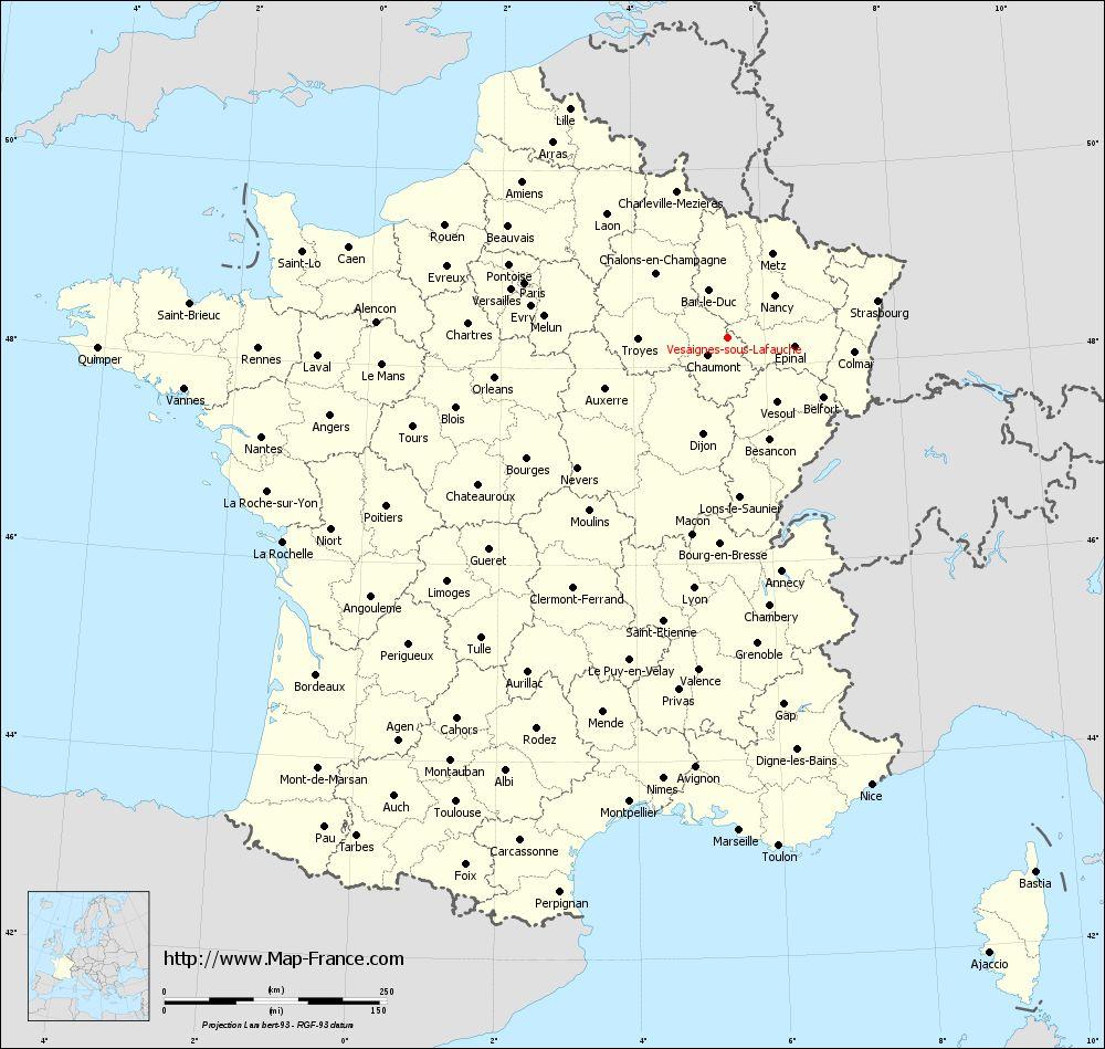 Administrative map of Vesaignes-sous-Lafauche
