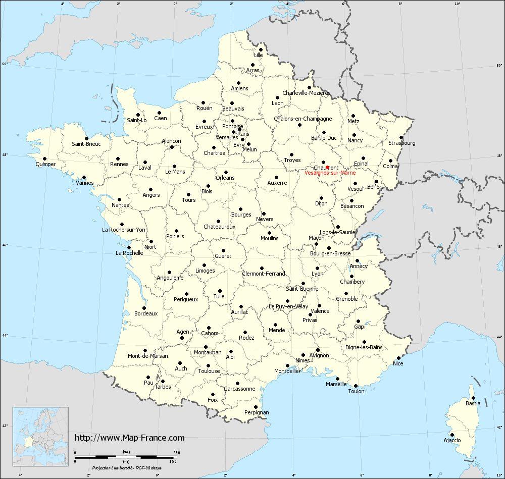 Administrative map of Vesaignes-sur-Marne