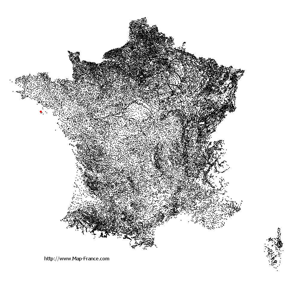 Sauzon on the municipalities map of France
