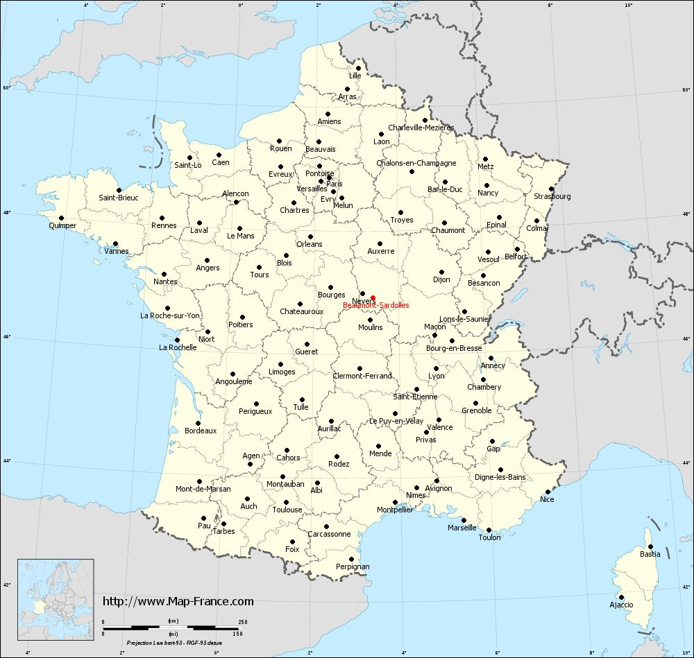 Administrative map of Beaumont-Sardolles