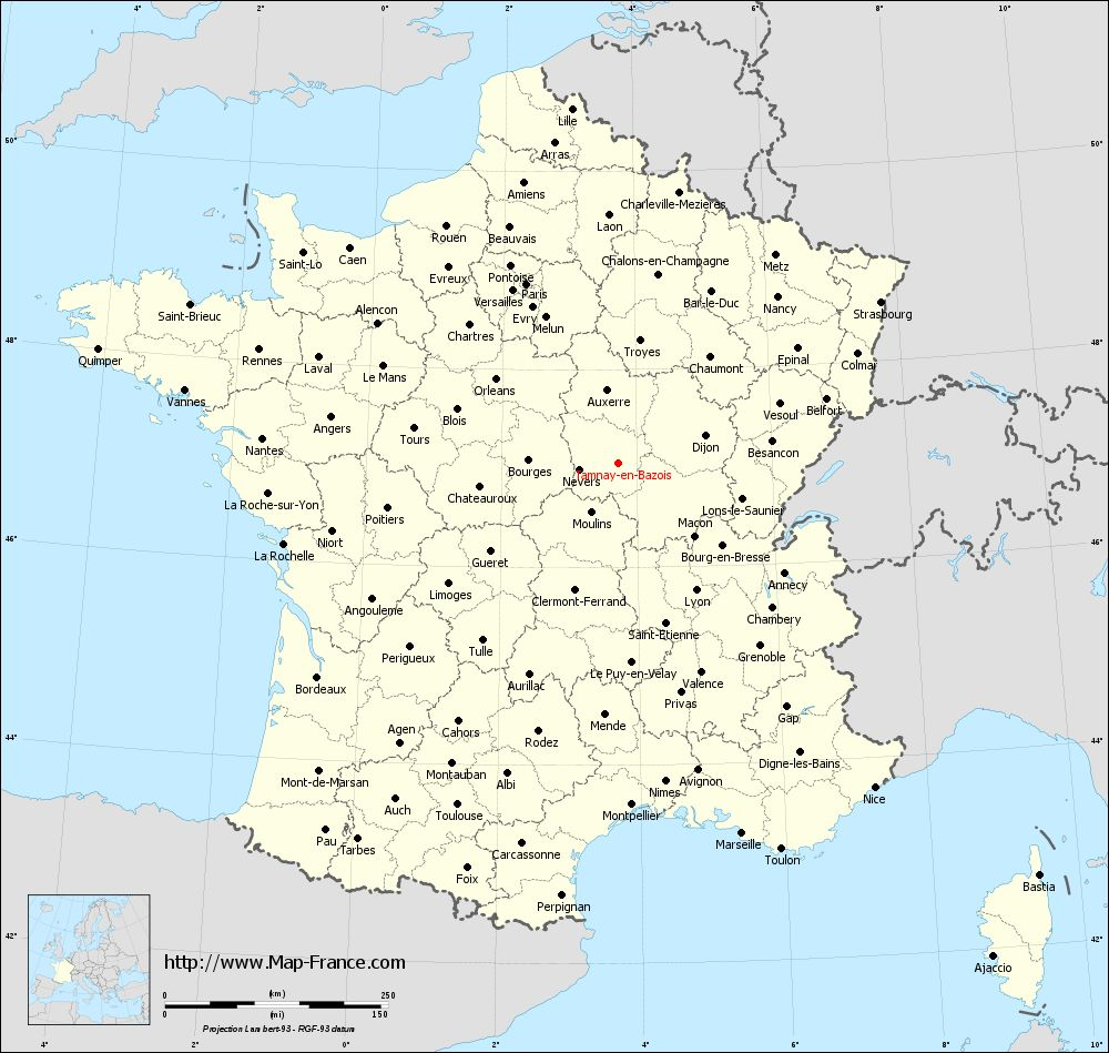 Administrative map of Tamnay-en-Bazois