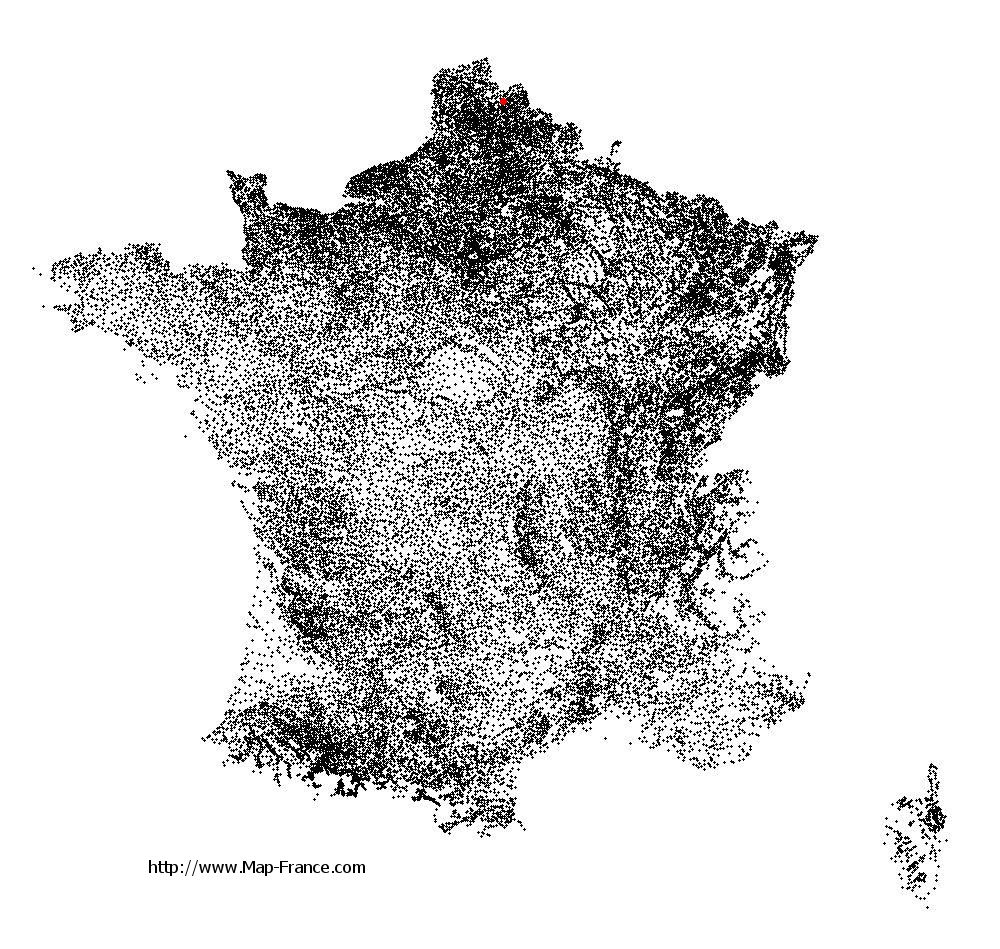 Aubers on the municipalities map of France
