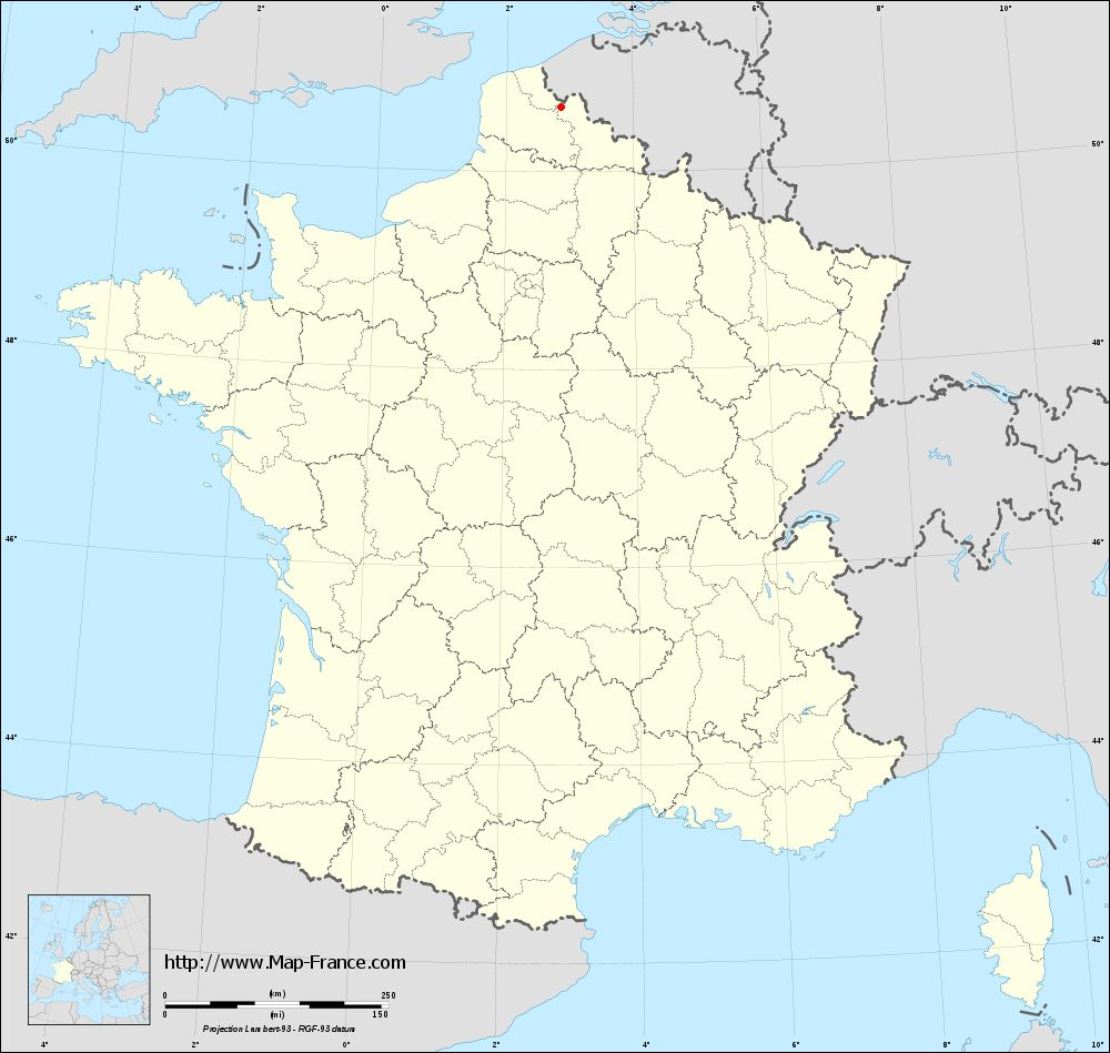 Base administrative map of Bois-Grenier