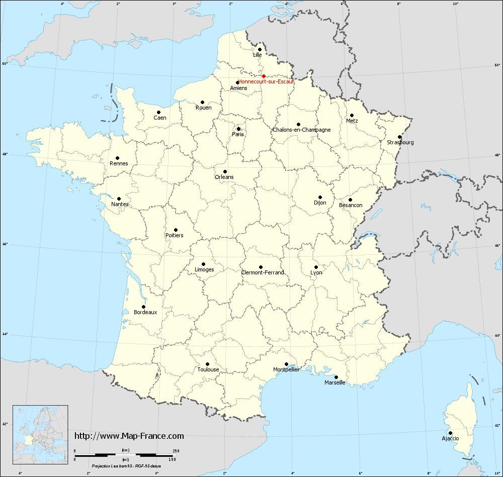 Carte administrative of Honnecourt-sur-Escaut