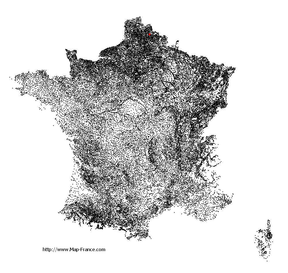 Waziers on the municipalities map of France