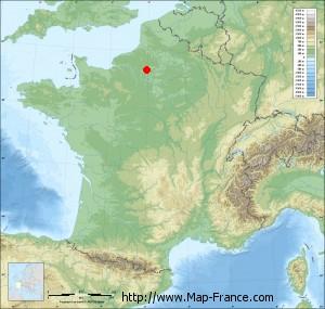 Small france map relief of Hardivillers-en-Vexin