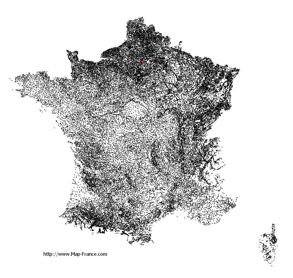 Monceaux on the municipalities map of France