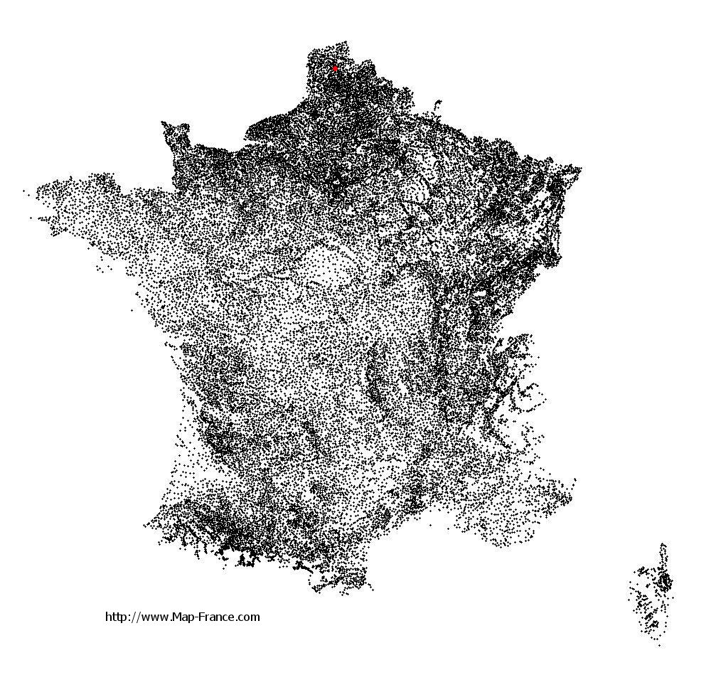 Clarques on the municipalities map of France