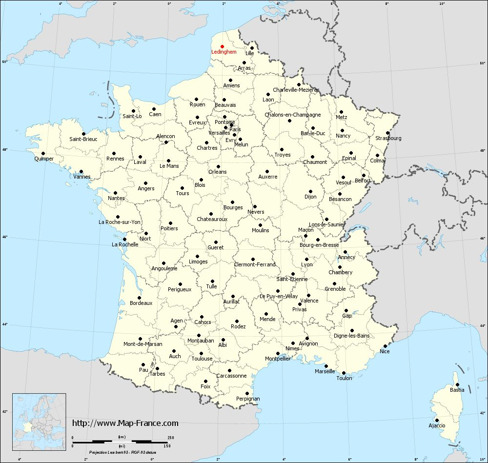 Administrative map of Ledinghem