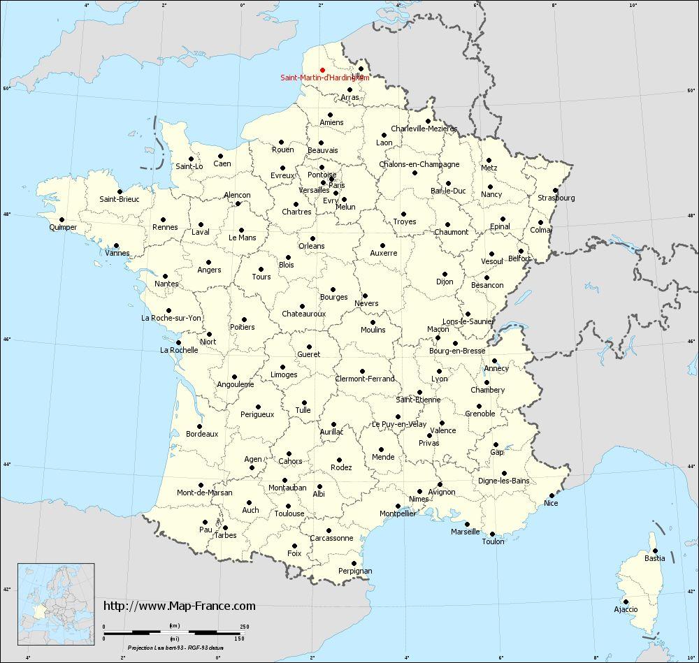 Administrative map of Saint-Martin-d'Hardinghem
