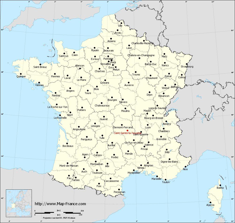 Administrative map of Saint-Genès-la-Tourette