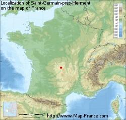 Saint-Germain-près-Herment on the map of France
