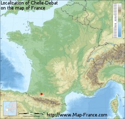 Chelle-Debat on the map of France