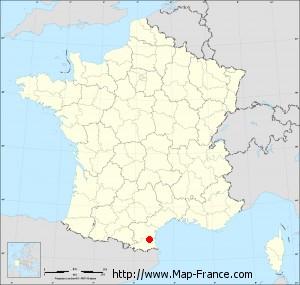 Small administrative base map of Cases-de-Pène
