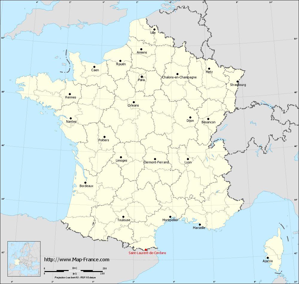 Carte administrative of Saint-Laurent-de-Cerdans