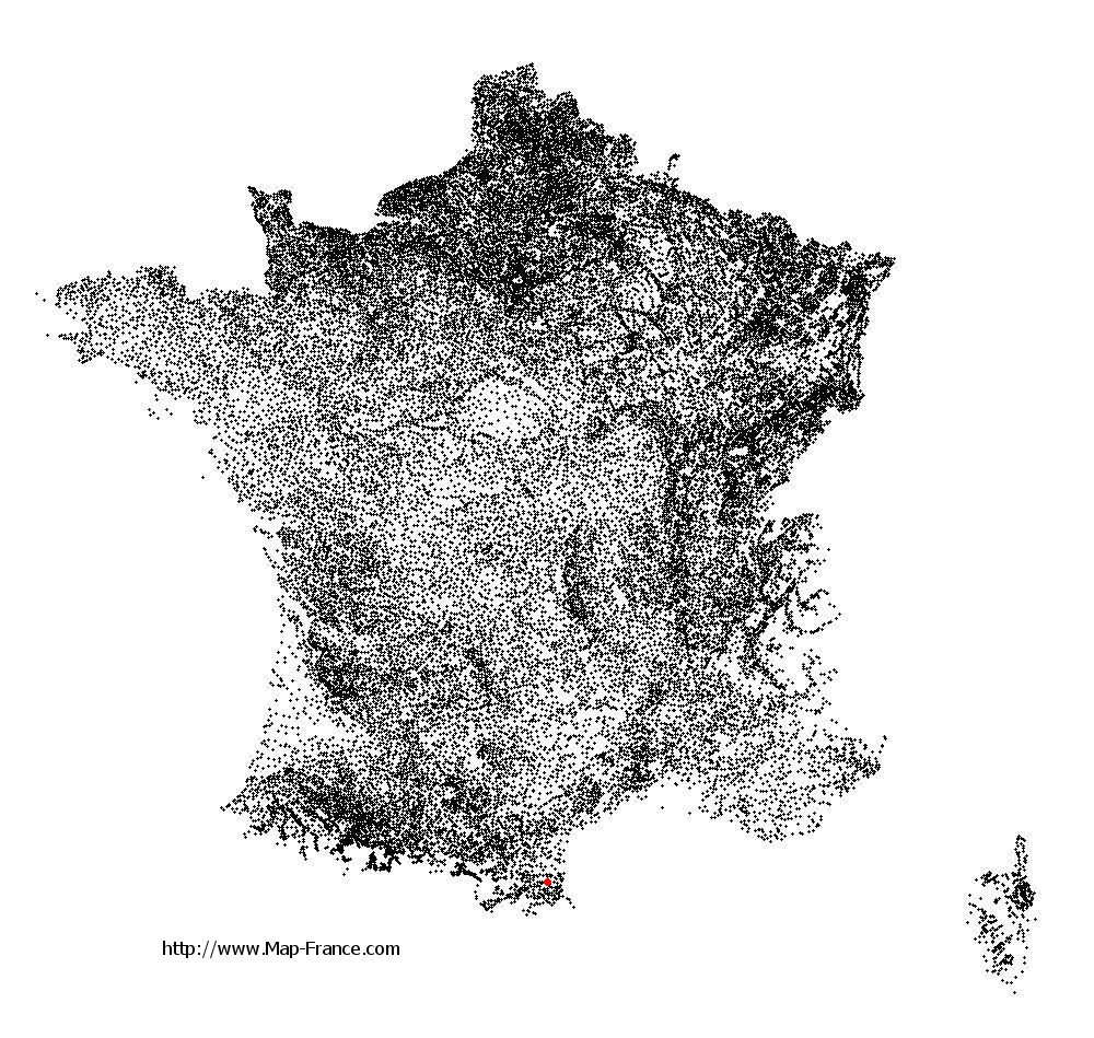 Villeneuve-la-Rivière on the municipalities map of France