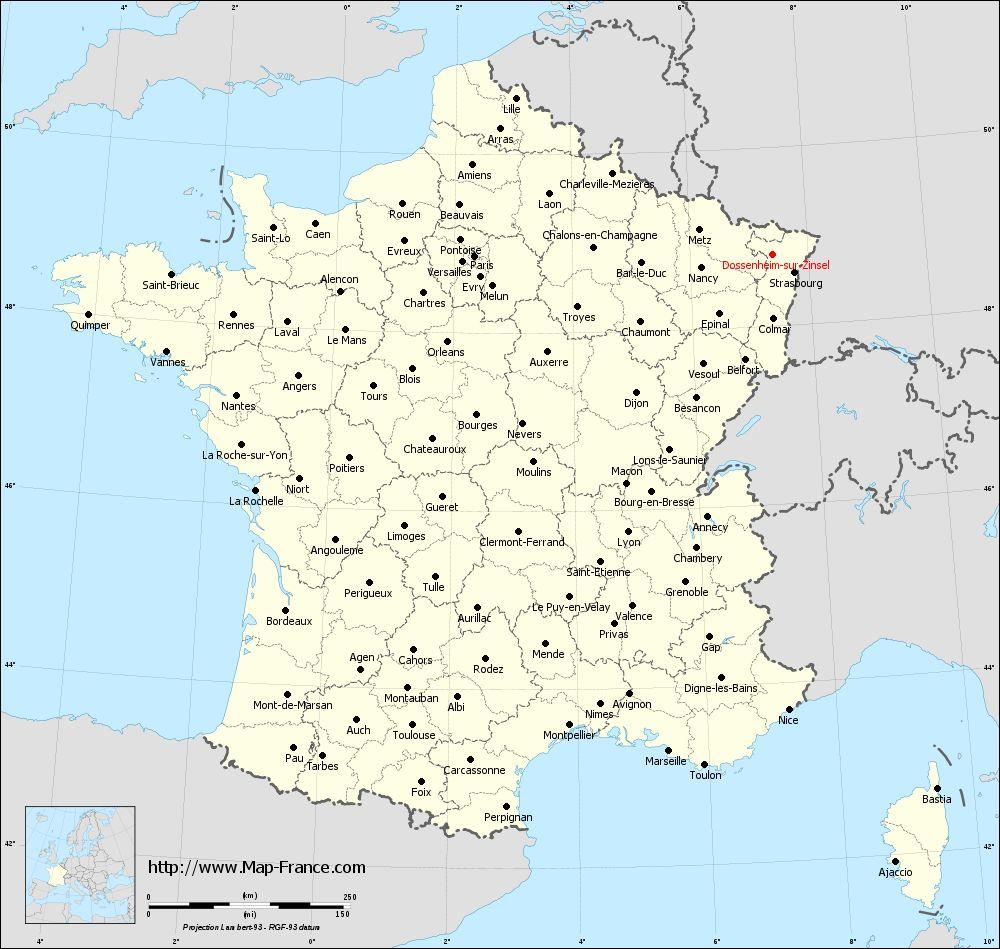 Administrative map of Dossenheim-sur-Zinsel