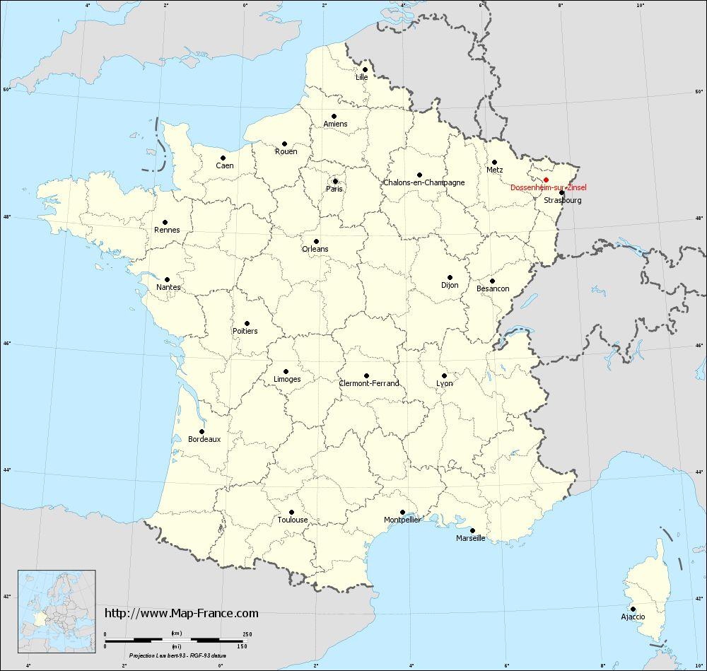 Carte administrative of Dossenheim-sur-Zinsel