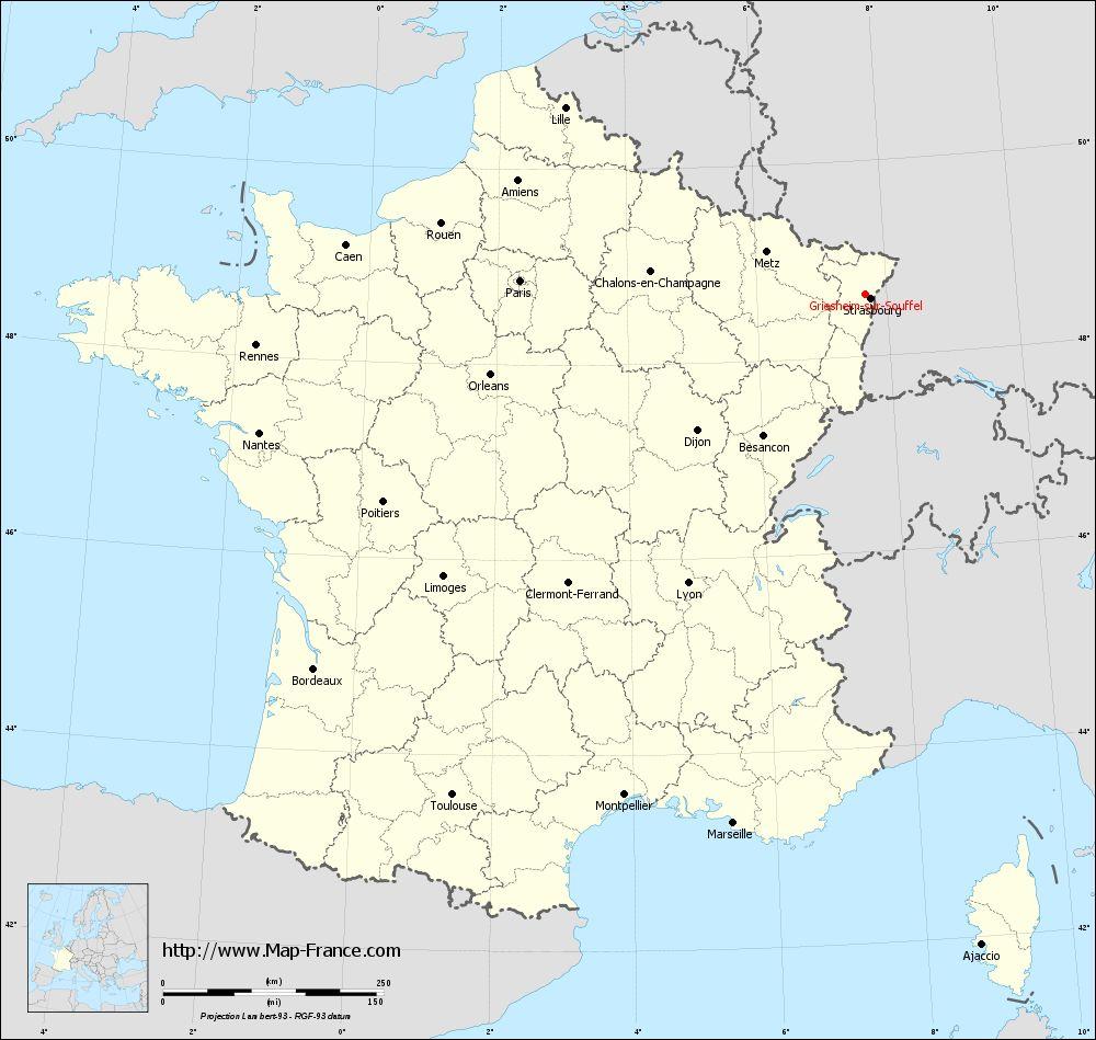 Carte administrative of Griesheim-sur-Souffel