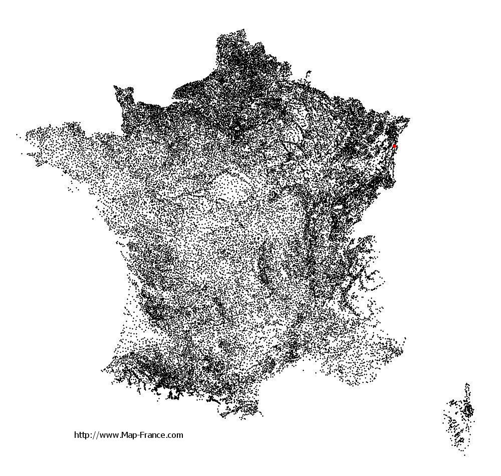 Sand on the municipalities map of France