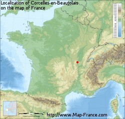 Corcelles-en-Beaujolais on the map of France