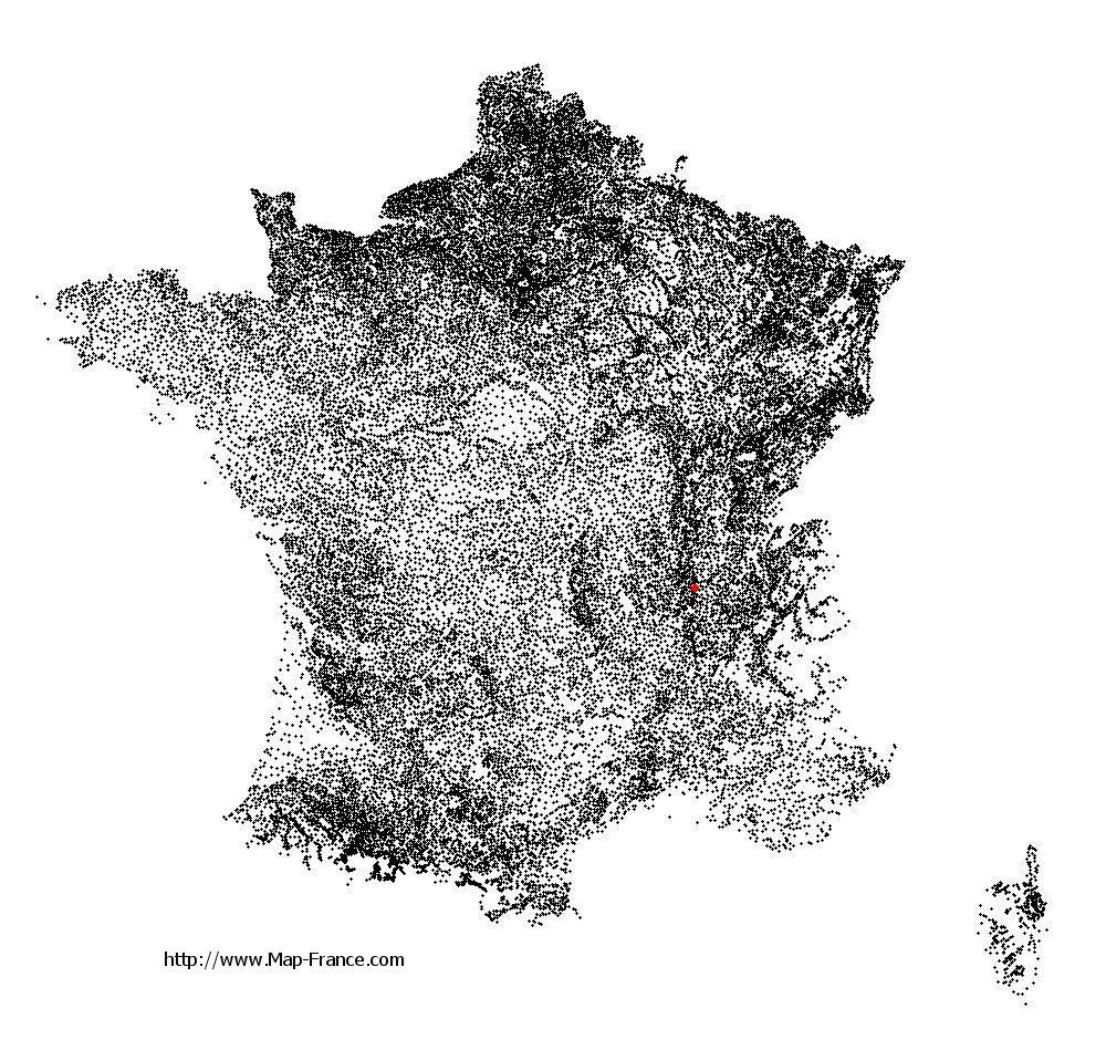Lyon on the municipalities map of France