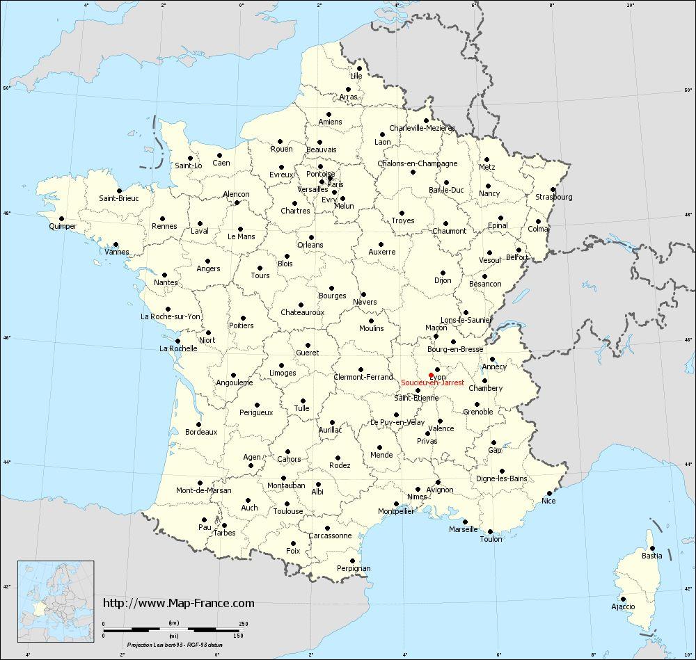 Administrative map of Soucieu-en-Jarrest