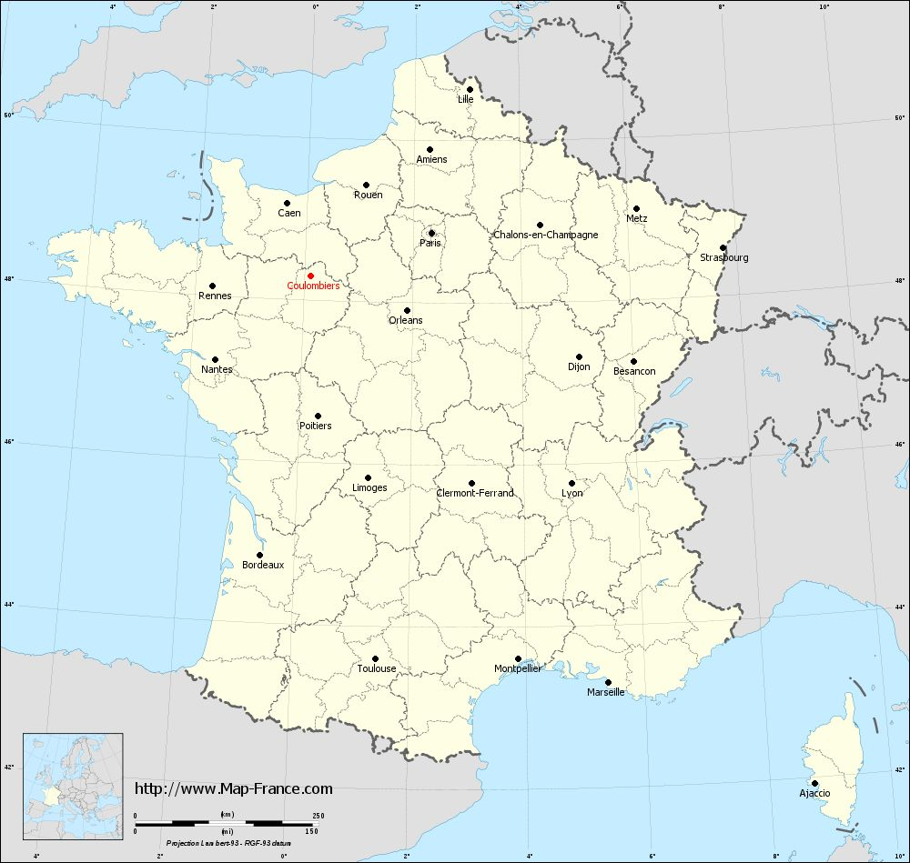 Carte administrative of Coulombiers