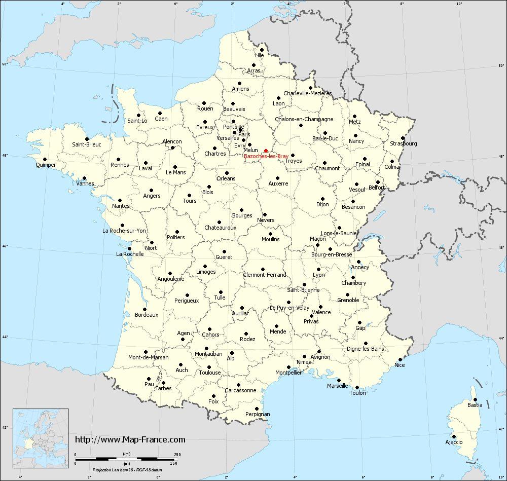 Administrative map of Bazoches-lès-Bray