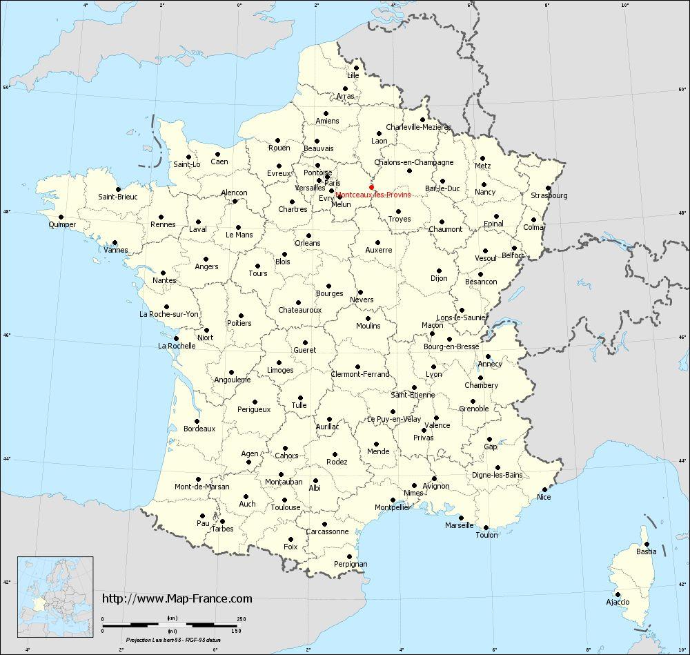 Administrative map of Montceaux-lès-Provins