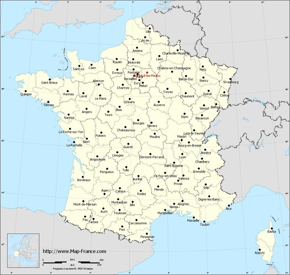 Administrative map of Nanteuil-lès-Meaux