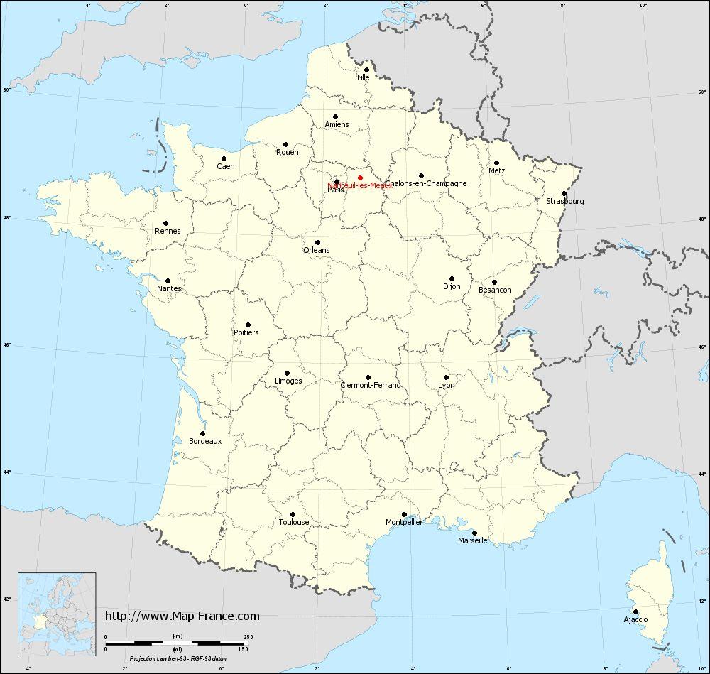 Carte administrative of Nanteuil-lès-Meaux