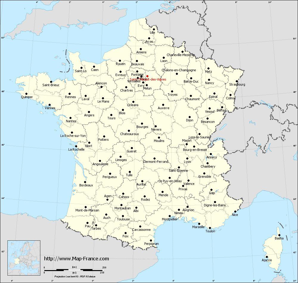 Administrative map of Saint-Thibault-des-Vignes