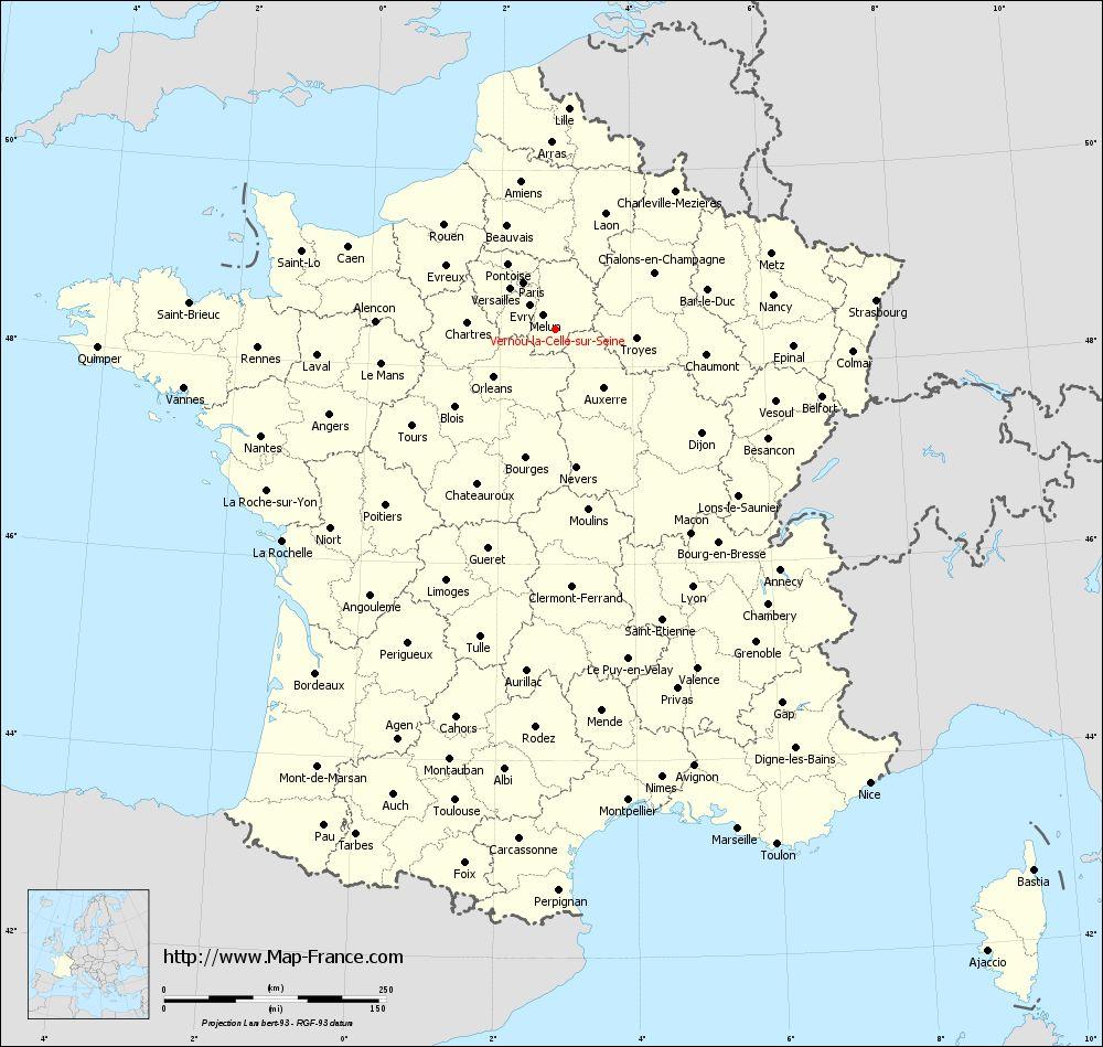 Administrative map of Vernou-la-Celle-sur-Seine