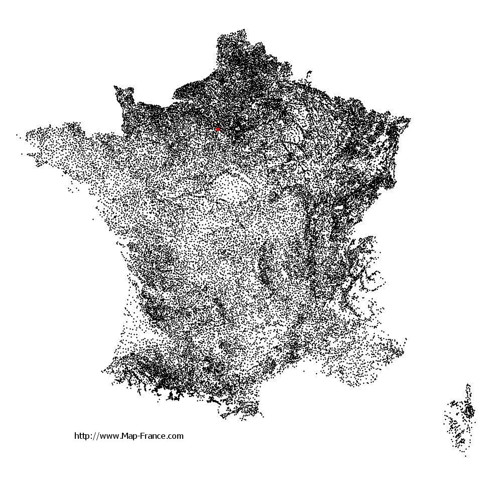 Tacoignières on the municipalities map of France