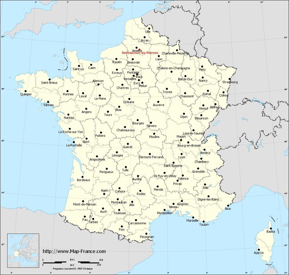 Administrative map of Berteaucourt-lès-Thennes