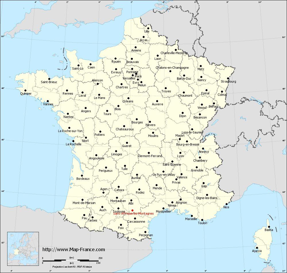 Administrative map of Saint-Affrique-les-Montagnes