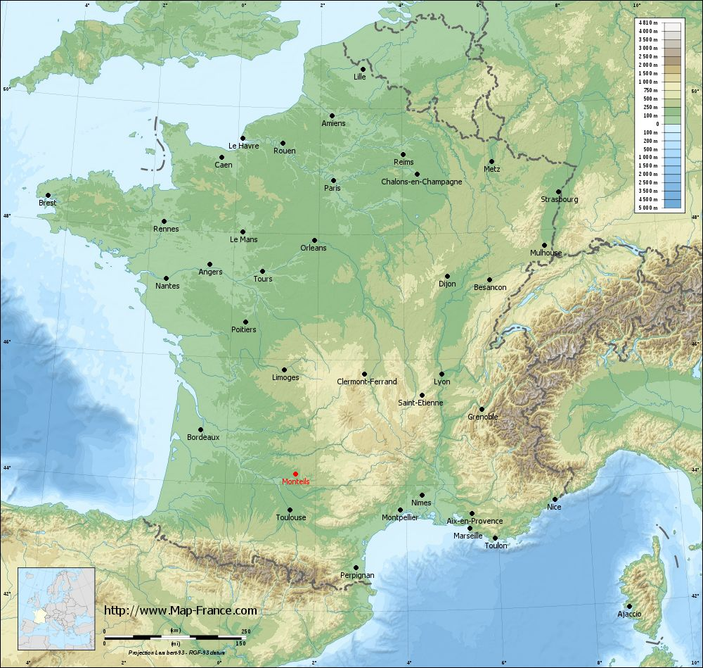 Carte du relief of Monteils